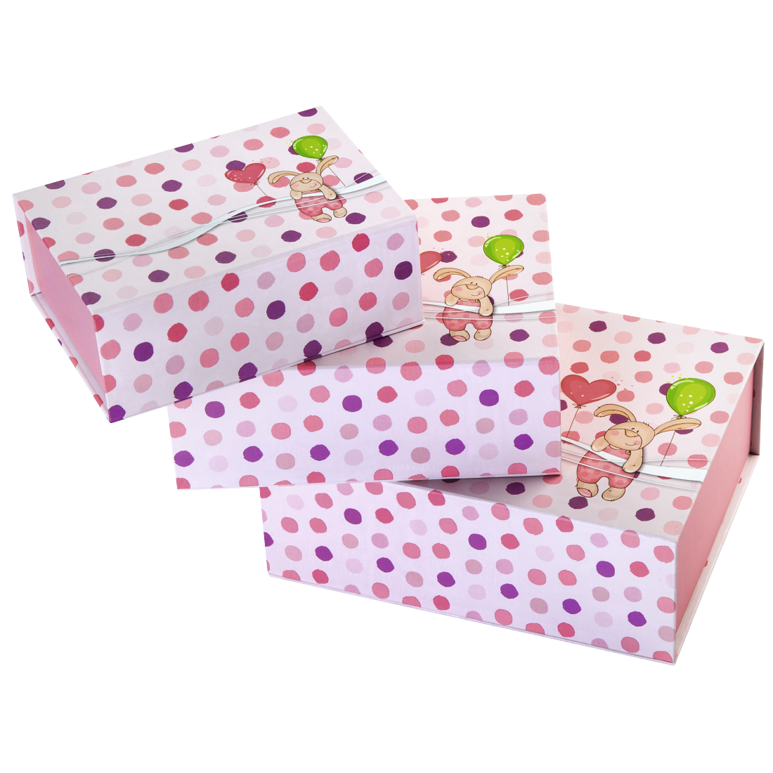"abx High-Res Image - Hama, ""Little Rabbit"" Set of Gift Boxes, 3 pieces, pink"