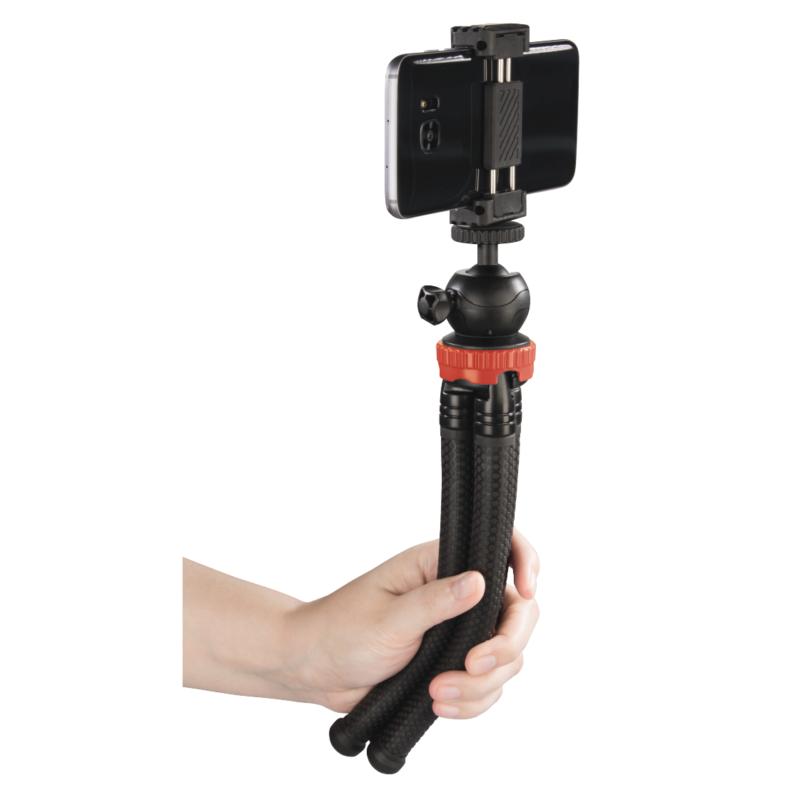 abx5 High-Res Image 5 - Hama, FlexPro Tripod for Smartphone, GoPro and Photo Cameras, 27 cm, red