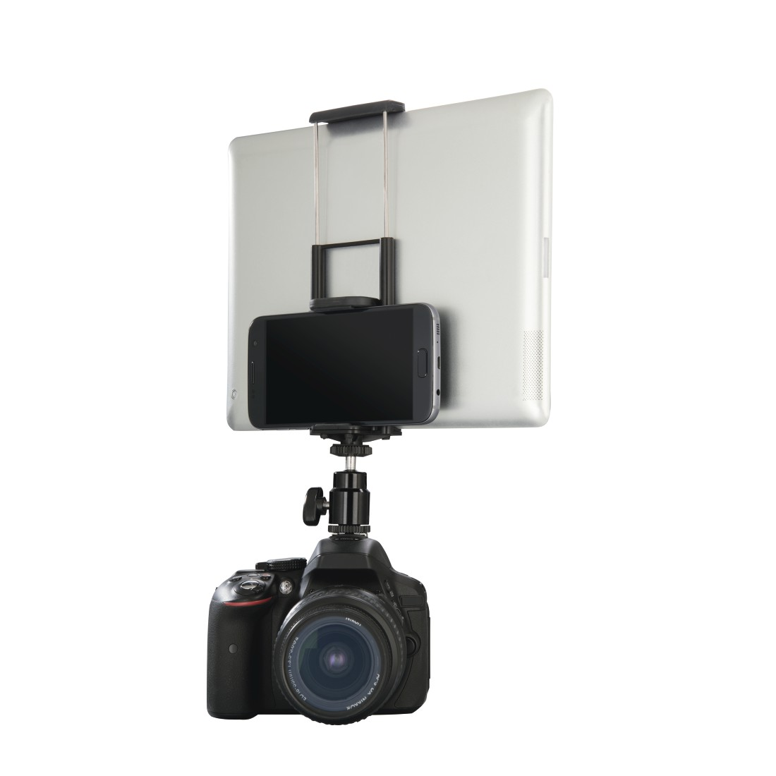 00004625 hama smartphone tablethalterung f r blitzschuh und an dslr mit wifi hama de. Black Bedroom Furniture Sets. Home Design Ideas