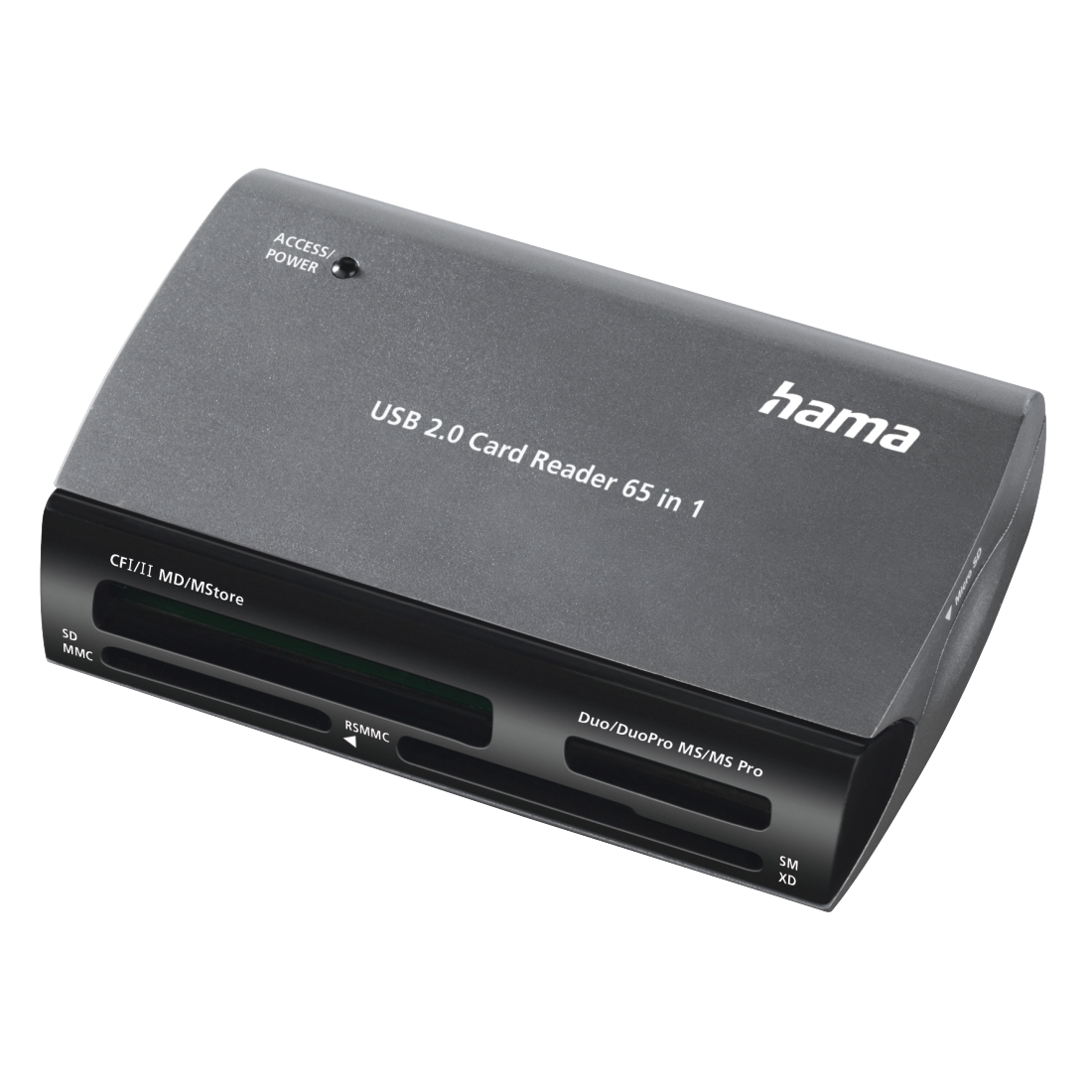 "abx High-Res Image - Hama, ""65in1"" USB 2.0 Multi-Card Reader, black/grey"