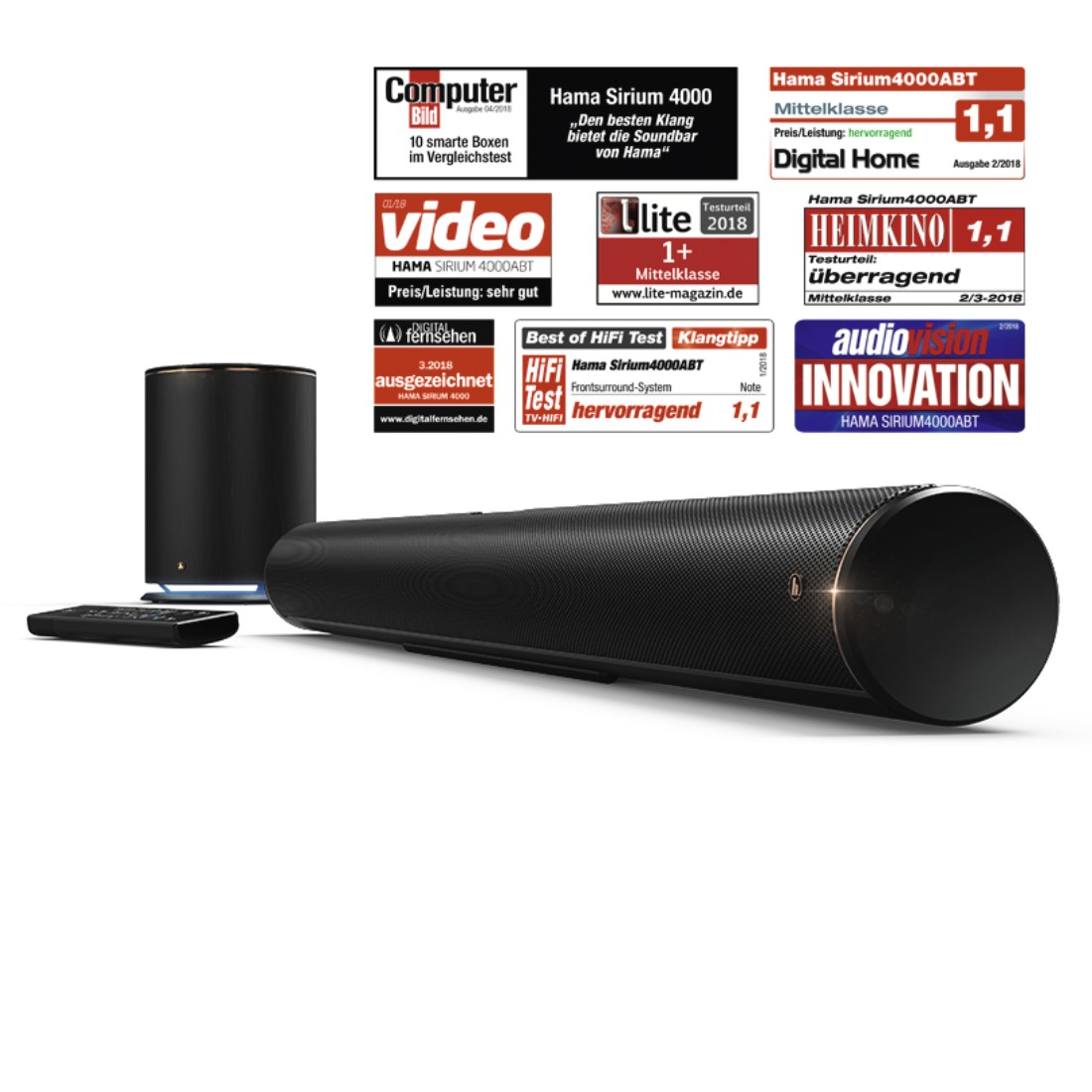 awx7 Druckfähige Anwendung 7 - Hama, Smart-TV-Soundbar 2.1 SIRIUM4000ABT, Wireless Subwoofer/Alexa/Bluetooth