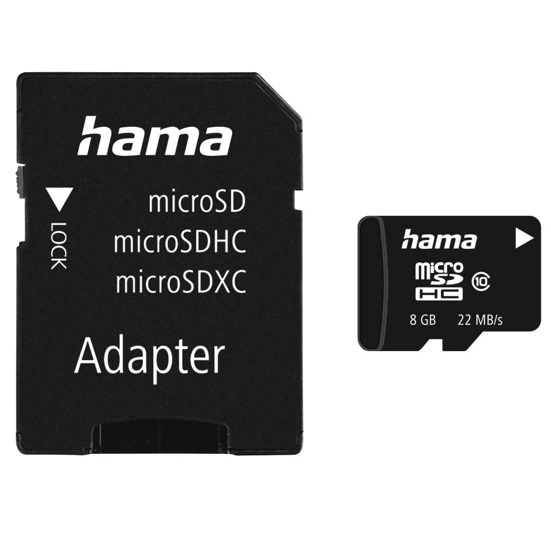 abx High-Res Image - Hama, microSDHC 8GB Class 10 22mB/s + Adapter/Photo