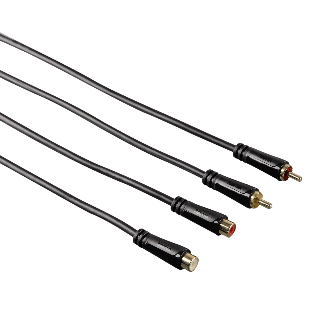 abx High-Res Image - Hama, Audio Extension Cable, 2 RCA plugs - 2 RCA sockets, gold-plated, 3,0 m