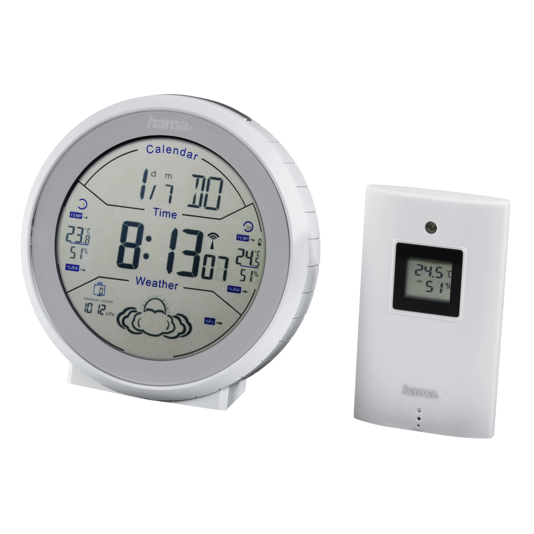 Hama Wetterstation Funkuhr Thermometer Außensensor Weiss Auensensor Digital Inn