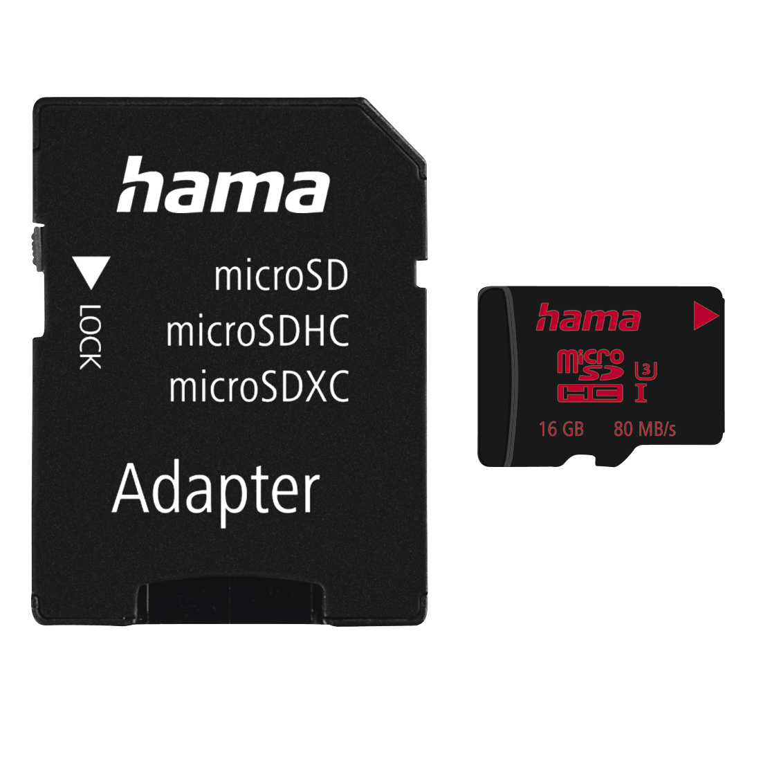 abx High-Res Image - Hama, microSDHC 16GB UHS Speed Class 3 UHS-I 80MB/s + Adapter/Photo