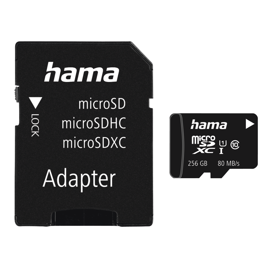 abx Druckfähige Abbildung - Hama, microSDXC 256GB Class 10 UHS-I 80MB/s + Adapter/Mobile