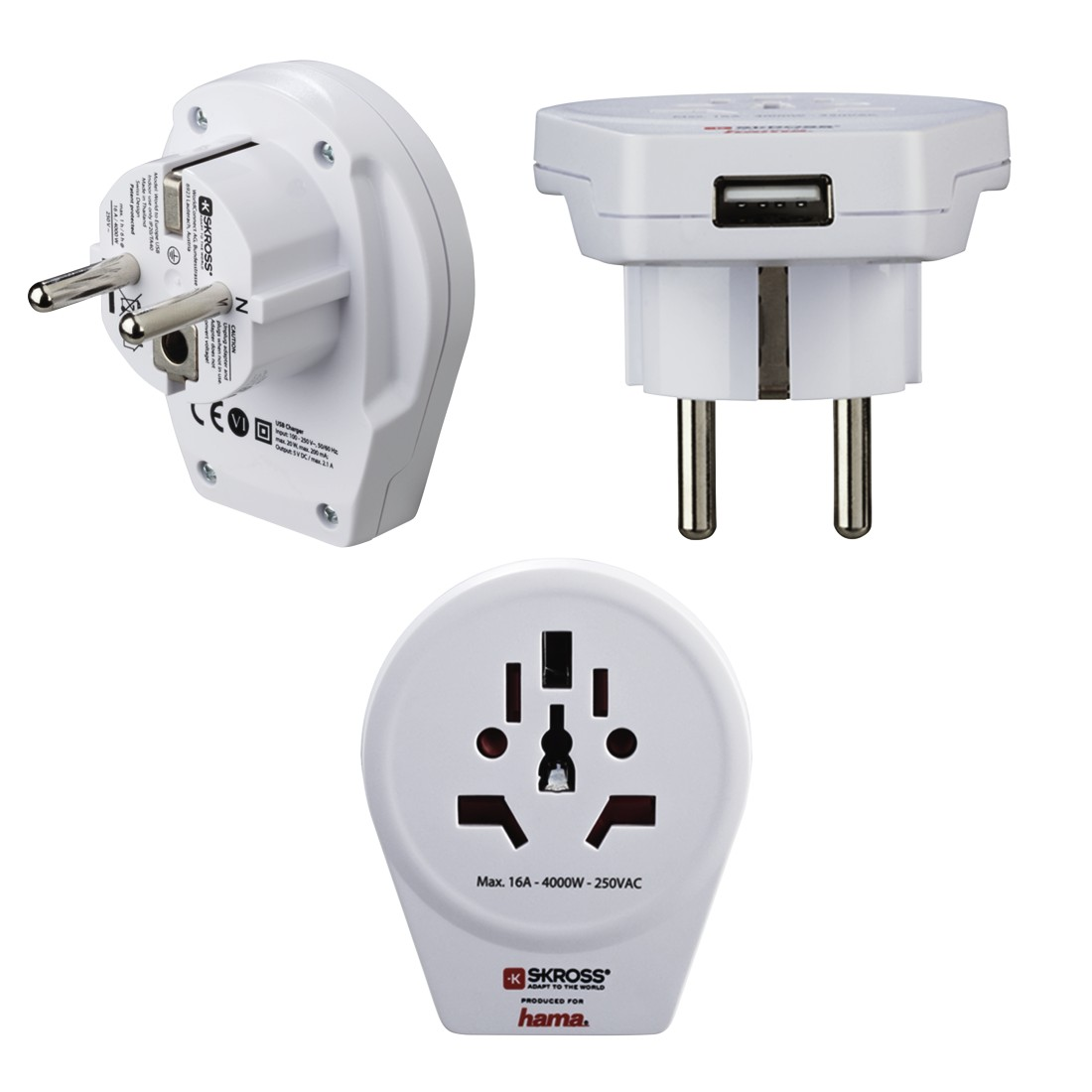"abx High-Res Image - Hama, ""World to Europe USB"" Travel Adapter Plug, 3 pins"