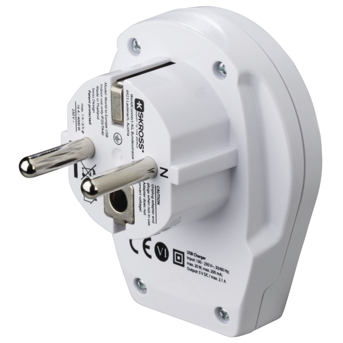 "dex4 High-Res Detail 4 - Hama, ""World to Europe USB"" Universal Travel Adapter Plug"