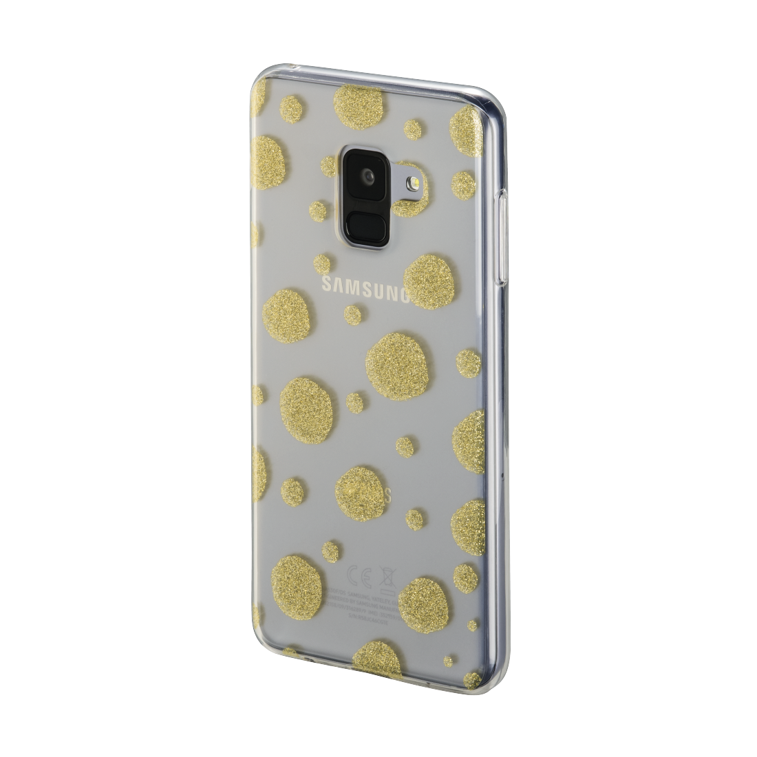 "abx2 High-Res Image 2 - Hama, ""Golden Circles"" Cover for Samsung Galaxy A8 (2018), transparent/gold"