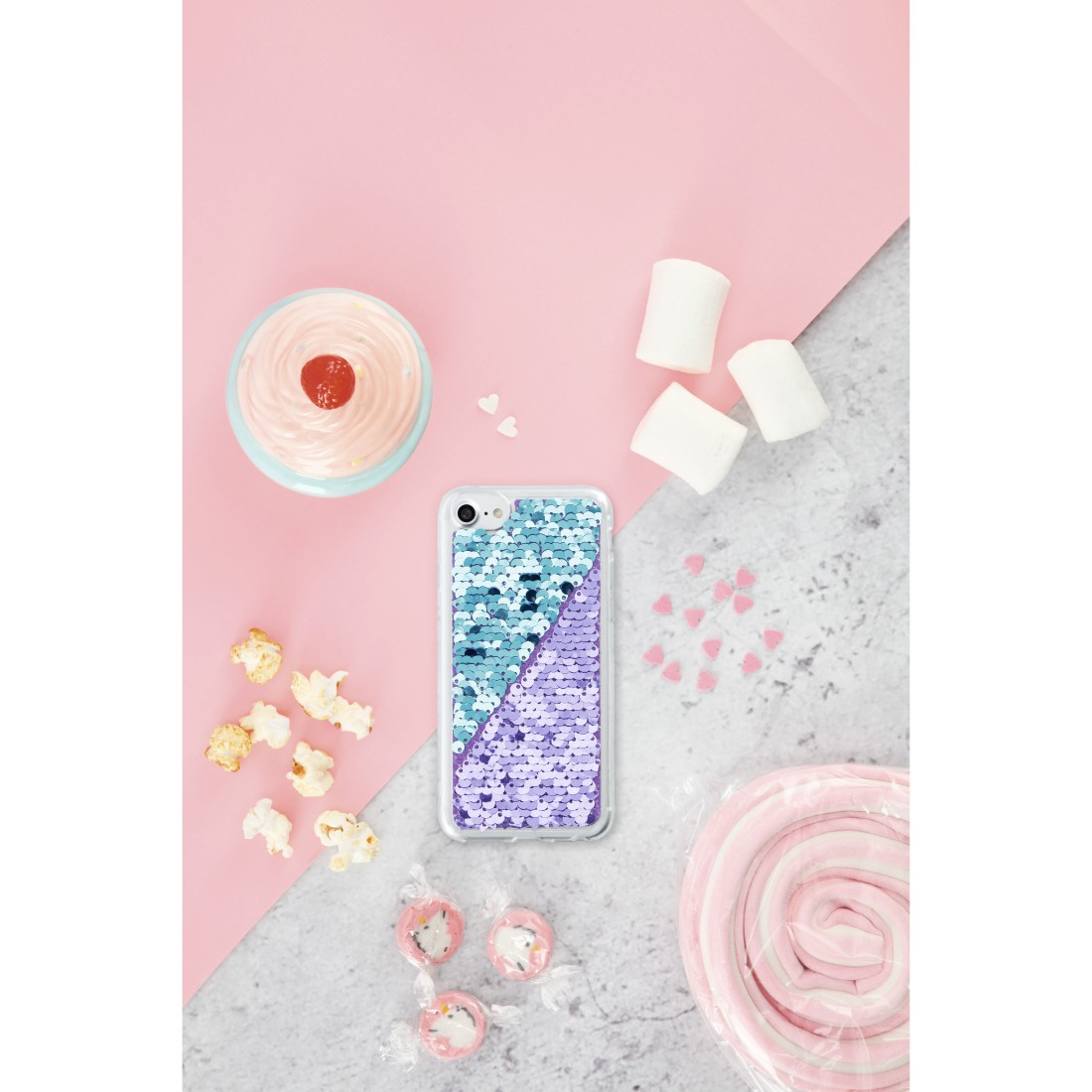 "awx Druckfähige Anwendung - Hama, Cover ""Paillettes"" für Apple iPhone XR, Lila/Türkis"