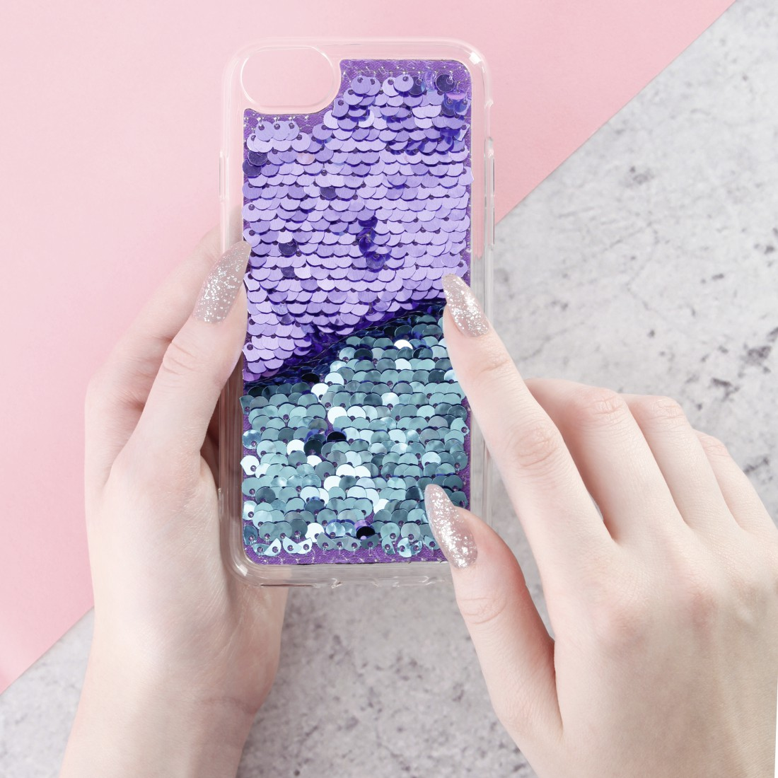 "awx3 Druckfähige Anwendung 3 - Hama, Cover ""Paillettes"" für Apple iPhone XR, Lila/Türkis"