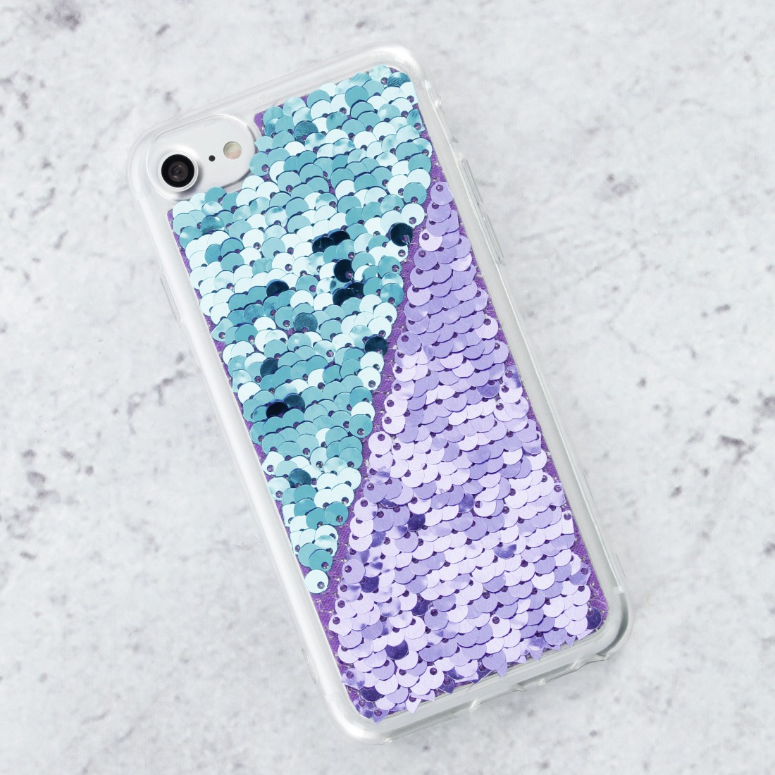 "awx4 Druckfähige Anwendung 4 - Hama, Cover ""Paillettes"" für Apple iPhone XR, Lila/Türkis"