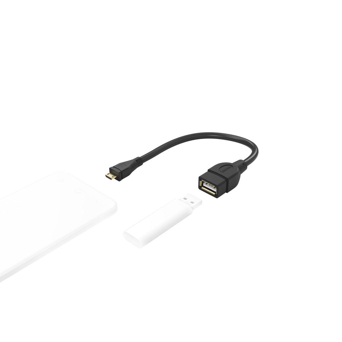 Black 15 cm Micro B Plug OTG A Socket Hama USB 2.0 Adapter Cable