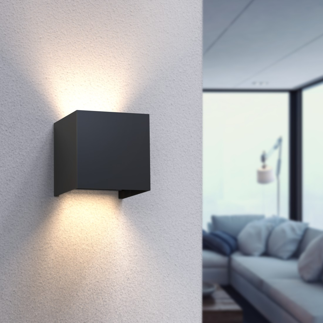 awx High-Res Appliance - Hama, WiFi Wall Light, Square, 10 cm, IP 44 for Indoors and Outdoors, black