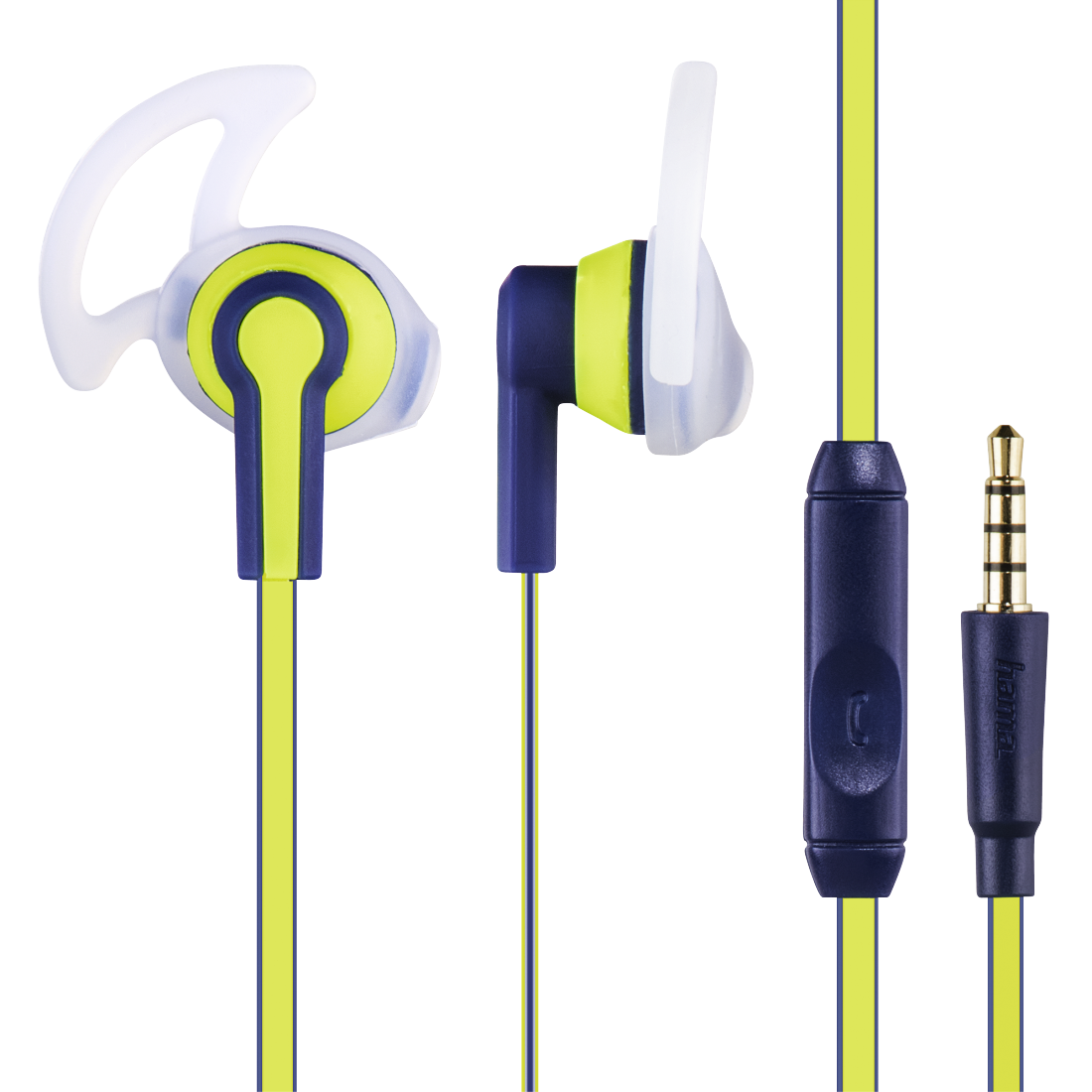 abx High-Res Image - Hama, Reflective Stereo Earphones, blue/yellow