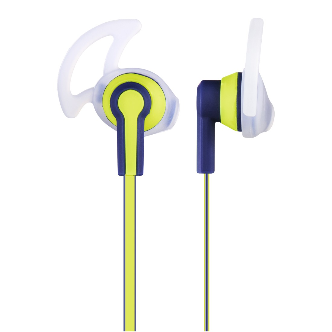 dex High-Res Detail - Hama, Reflective Stereo Earphones, blue/yellow
