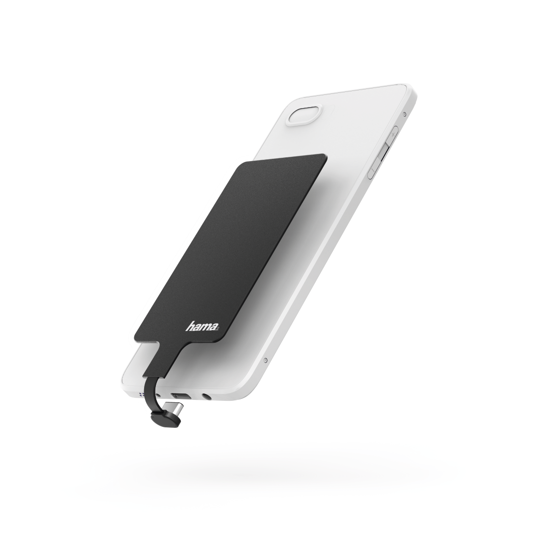 abx High-Res Image - Hama, Wireless Charging Adapter for Smartphones, USB Type-C, 800 mA, black