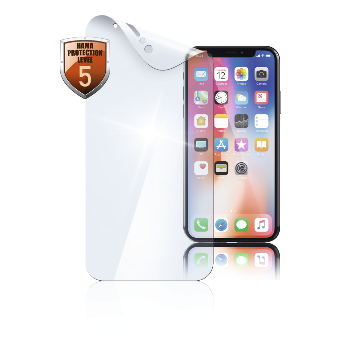 "abx High-Res Image - Hama, ""Crystal Clear"" Display Protection Film for Apple iPhone X/Xs, 2 pcs"