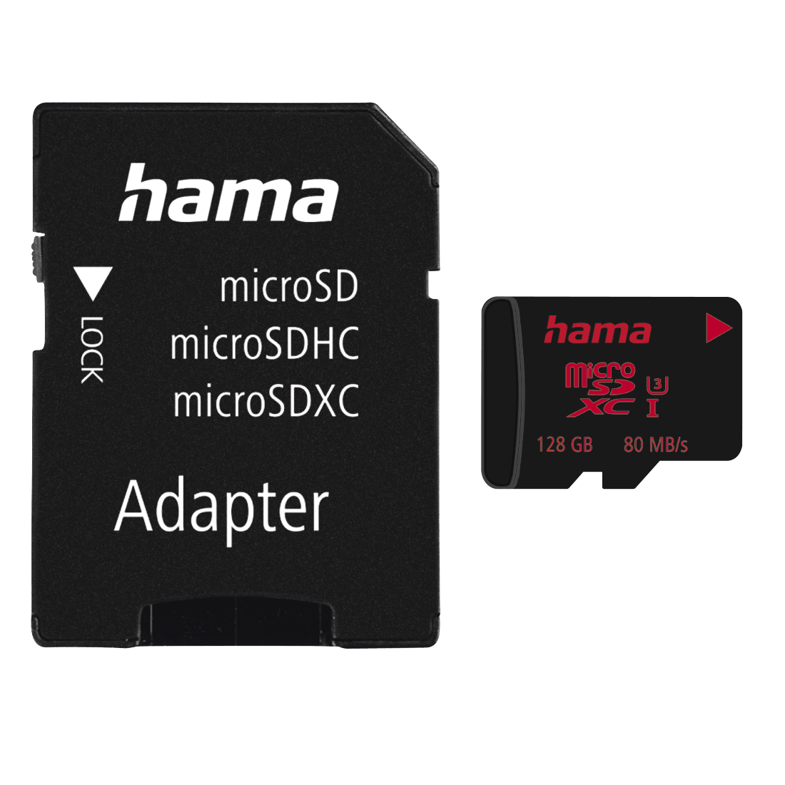 abx High-Res Image - Hama, microSDXC 128GB UHS Speed Class 3 UHS-I 80MB/s + Adapter/Mobile