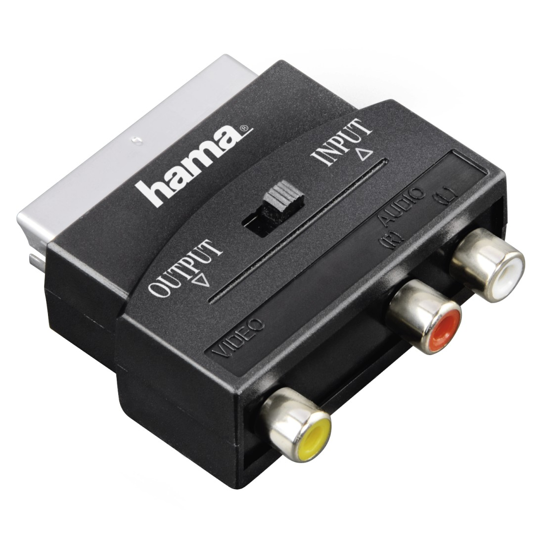 abx Druckfähige Abbildung - Hama Classic Line, Video-Adapter, 3 Cinch-Kupplungen (1x Video/Audio L u. R) - Scart-Stecker