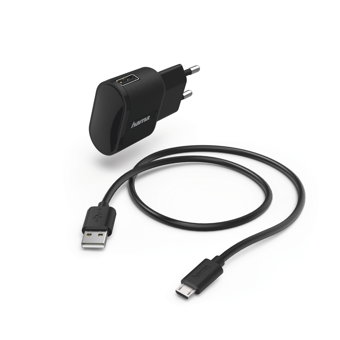"abx High-Res Image - Hama, ""Auto-Detect"" Charger Set for Tablets, Micro-USB, 5 V/2.4 A, black"