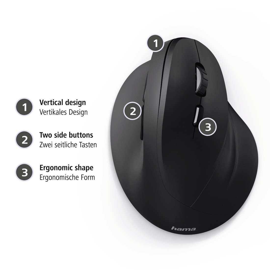 "dex2 High-Res Detail 2 - Hama, Vertical, Ergonomic ""EMC-500"" Mouse, Cabled, 6 Buttons, black"