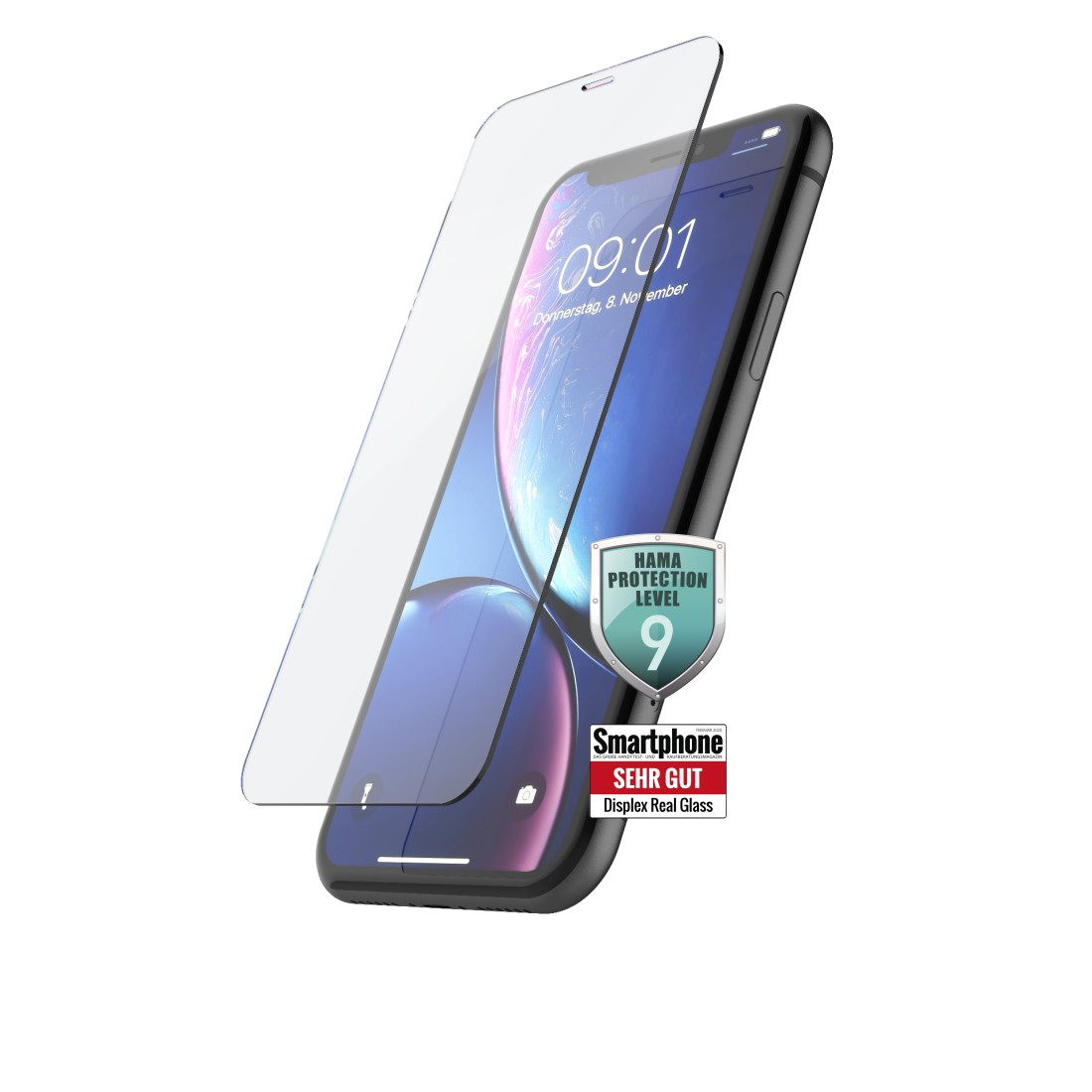"uax Printable Image Logo - Hama, ""Premium Crystal Glass"" Real Glass Screen Protector for Apple iPhone XR/11"
